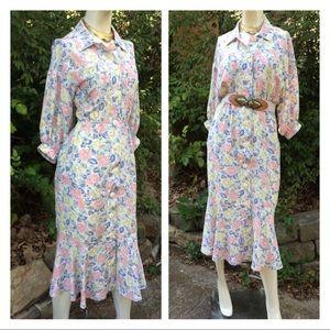 Modest Floral Mermaid Hem Button Down Shirt Dress